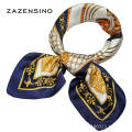 53*53CM Real 100%Silk Luxury Brand Carriage Chain Horse Women's Scarf Printed Square Small Sizes Female Scarves Hijab Foulard S2