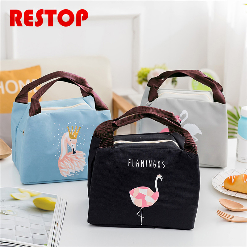 2018 New Flamingo Waterproof Oxford Lunch Bag Thermal Food Picnic Lunch Bags for Women kids Men Cooler Lunch Box Bag Tote RES988