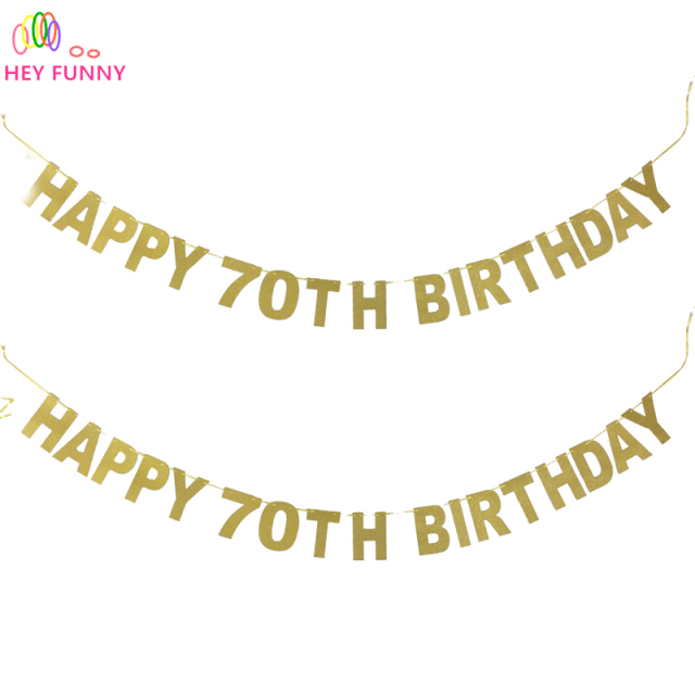 HEY FUNNY 1Set 2017 Popular Glitter Gold Happy 70th Birthday Banner Anniversary Party
