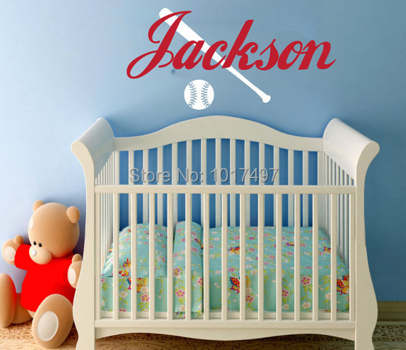 Baseball Wall Decal With Name   Childrenu0027 Boy Bedroom Decor   Personalized  Baseball Boys Name
