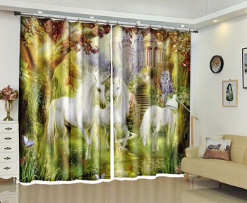 White Unicorn Window 3D Curtains Drapes For Bedroom Living room Office Hotel Home Decorative Wall Tapestry Custom Size