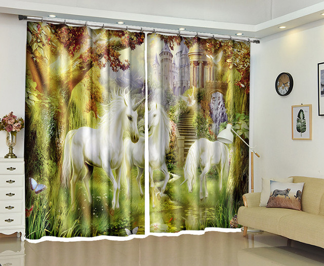White Unicorn Window 3d Curtains Drapes For Bedroom Living Room