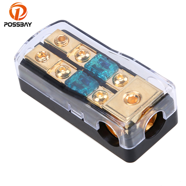 Best Offers POSSBAY Car Auto Vehicles Audio Amplifier 30A/60A/80A/100A/150A 1 in 2 Ways Out Fuse Holder Fuse Box ABS Plastic+Zinc Alloy
