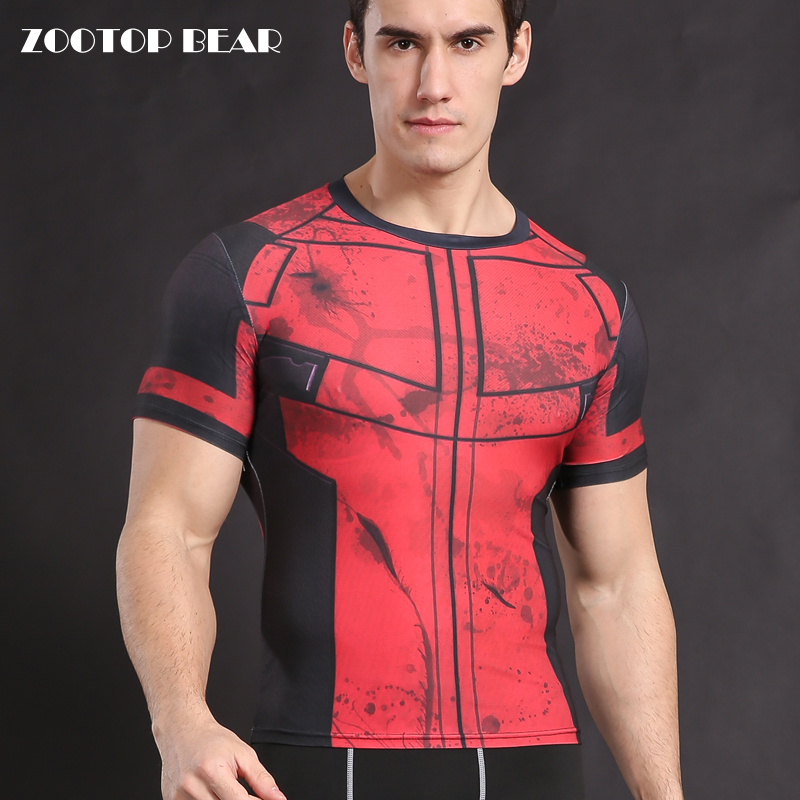 Deadpool t-shirt Cosplay De Compression Chemise Mens musculation Crossfit T chemises Dur À Cuire Tops Fitness Masculin T-shirts Armure ZOOTOP OURS