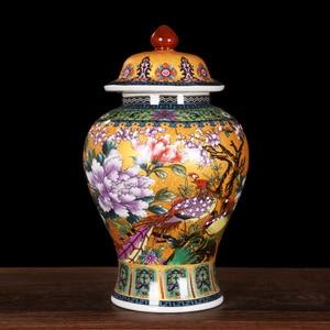 Antique Royal Golden Pheasant Ceramic Cloisonne Enamel General Tank Vase Fortune Hat-covered Ginger Jars Ornament Creative Gift(China)
