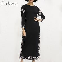 Fadzeco African Dresses for Women Dashiki Long Sleeve Patchwrok Floral Print Maxi Dress Ethnic Casual Loose Summer