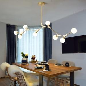 Image 2 - Postmodern LED chandelier living room suspended lighting Glass deco fixtures dining hanging lights Nordic bedroom pendant lamps