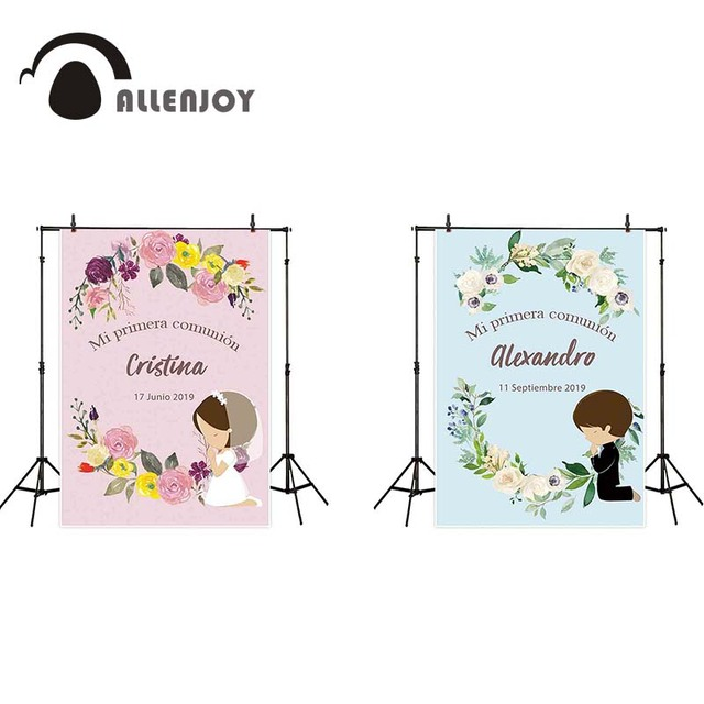 Allenjoy first communion photography backdrop girl boy party decor flower background photocall prop photobooth prop custom
