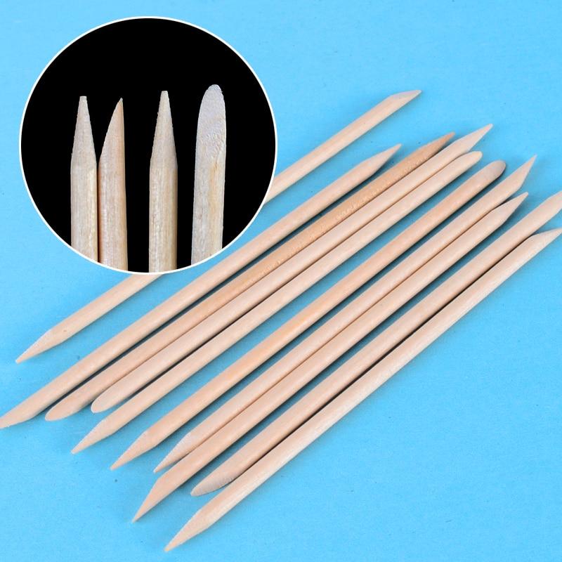 ZKO 10pcs/packs 11.3cm Orange Wood Stick Cuticle Pusher Remover Nail Designs Nail Art Stick Wooden Nails Tools