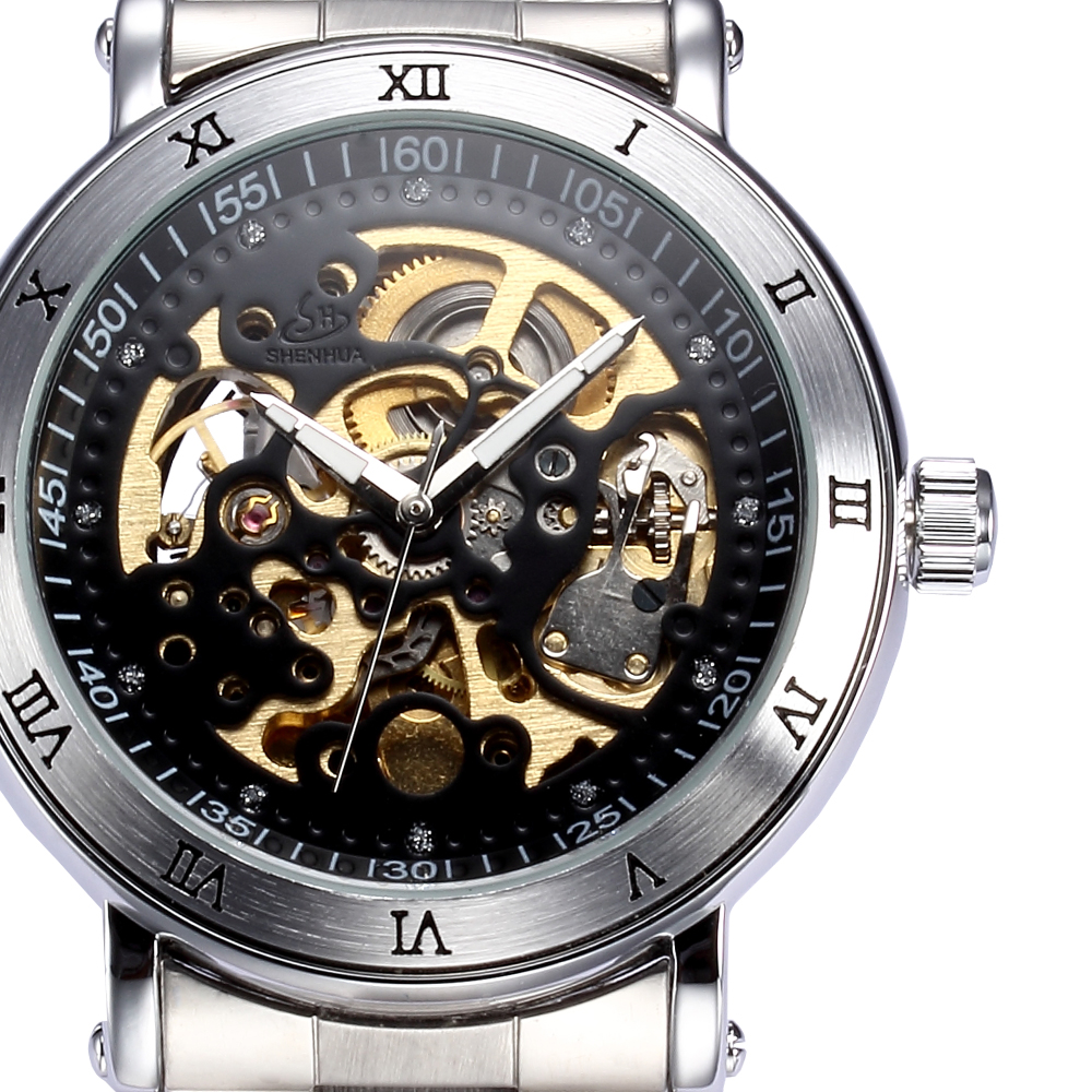SHENHUA Brand Mens Wristwatches Skeleton font b Steampunk b font Stainless Steel Mechanical Male font b