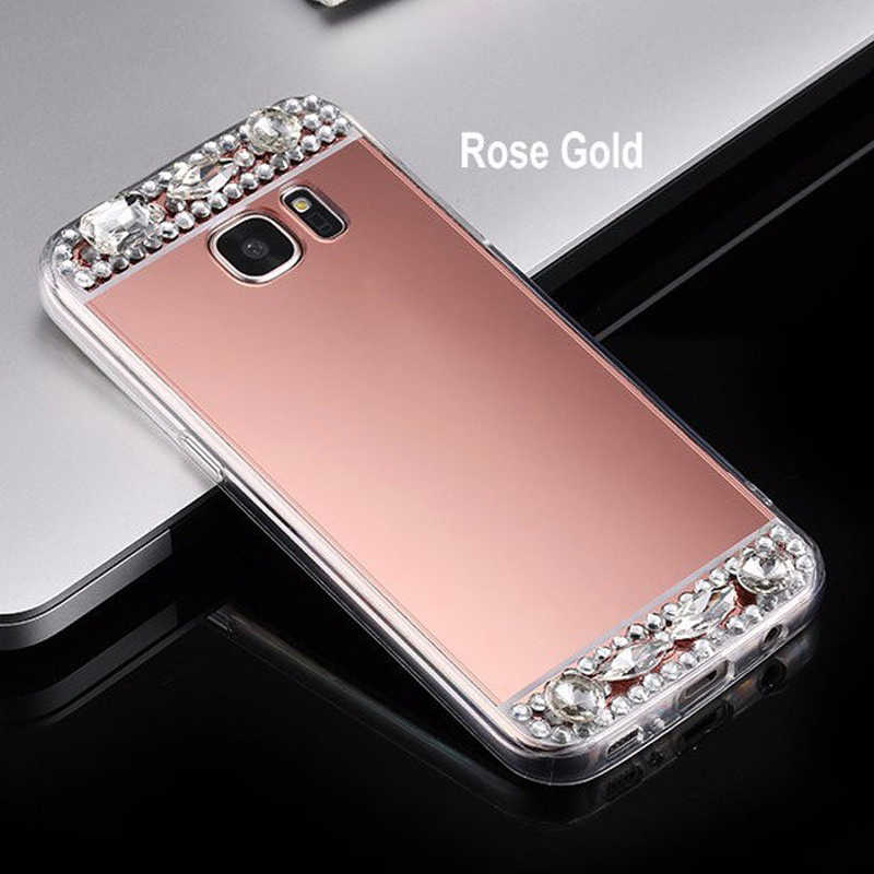 For Samsung S8 S9 Bling Diamond Stone Glitter Mirror Case For Samsung Galaxy S9 S8 S7 S6 Edge Plus S5 S4 Case Cover Shell Coque