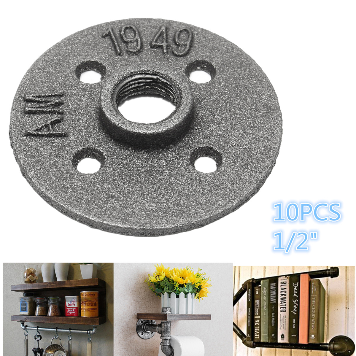 10pcs/lot For 1/2 Pipe DN20 Iron Floor Flange Seat Classic Casting Iron Flange High Quality Pipe Fittings Wall Mount ткань портьерная garden выс 290см сиреневый