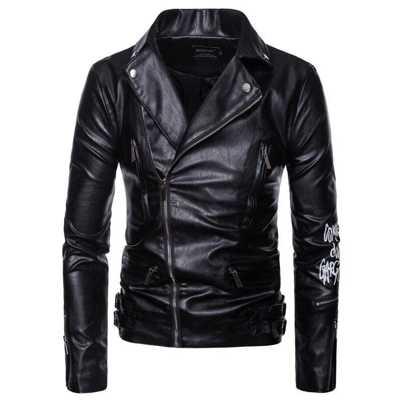 AOWOFS Men Motorcycle Coats Jaket Men Deri Mont Ceket Spring Leather Jacket Men Letter Print Leather Biker Jacket Plus Size 5XL