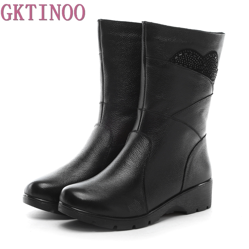 New Style Winter Women Boots Warm Genuine Leather Snow Boots Female Round Toe Mid-Calf Fashion Flats Shoes Plus Size
