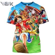 WSFK Anime One Piece Monkey D. Luffy 3D Print Short Sleeve T-Shirt Mens Personality Fashion Casual Sweatshirt