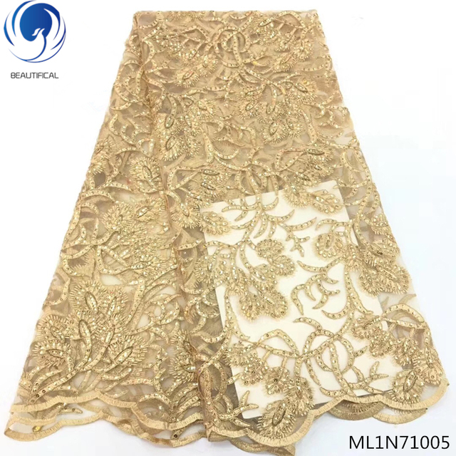 BEAUTIFICAL french lace sequins fabric nigerian fabric lace french with sequins 5 yards/piece for big occasion ML1N710
