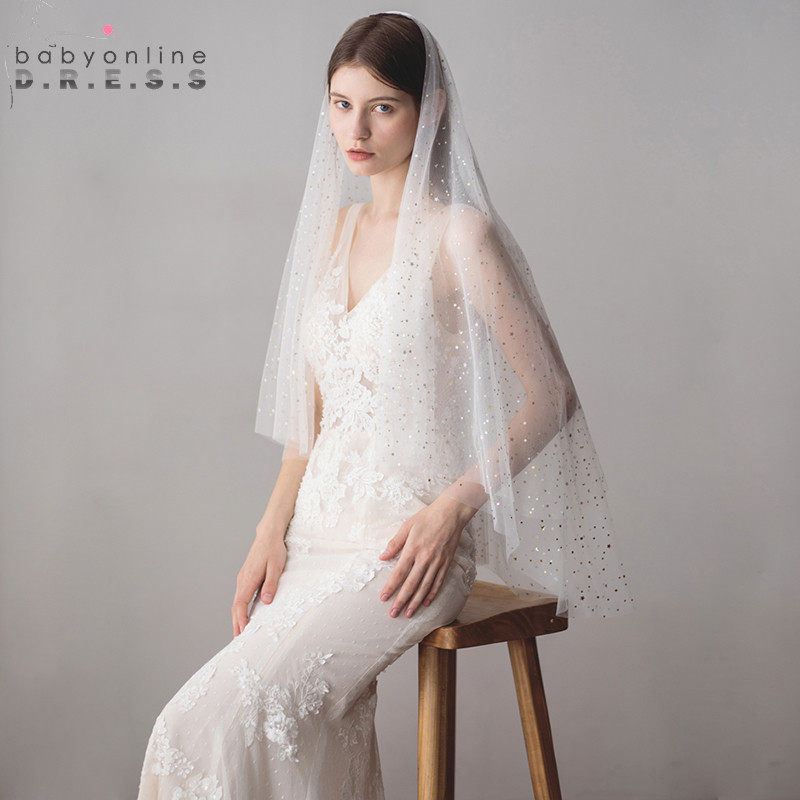 Wedding-Veil Tulle Bridal-Accessorie Voile-De-Mariage Ivory White Two-Layer With Stars