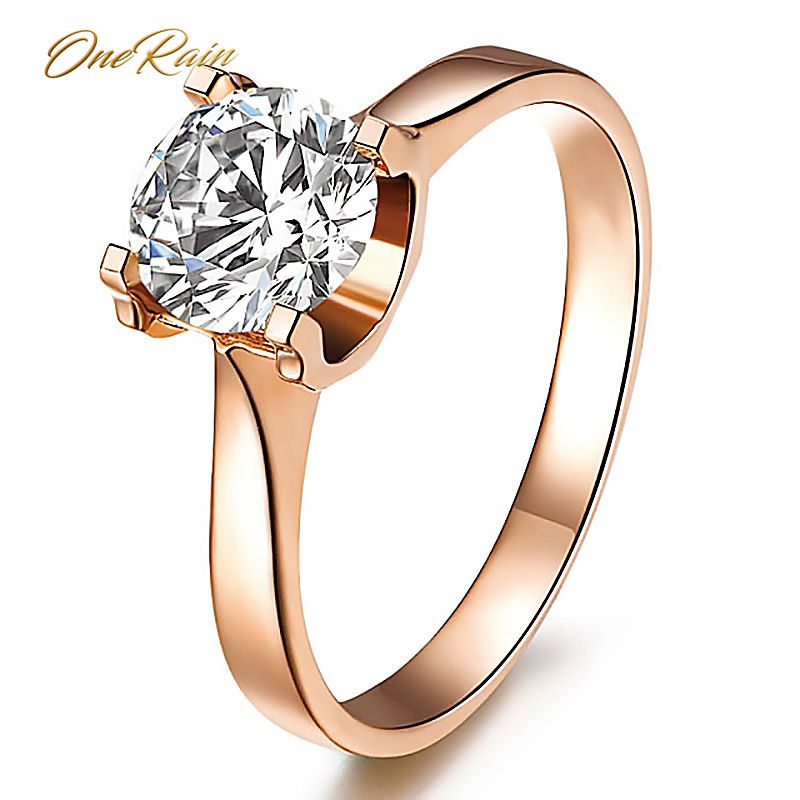 OneRain Classic 100% 925 Sterling Silver Created Moissanite Gemstone Engagement Rings Wedding Band Jewelry Gifts Wholesale 5-12