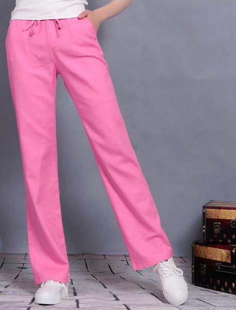 98b3ffe22ffc Лидер продаж высокое качество дамы разноцветный шнурок льняные брюки  жидкости брюки Для женщин прямые брюки,