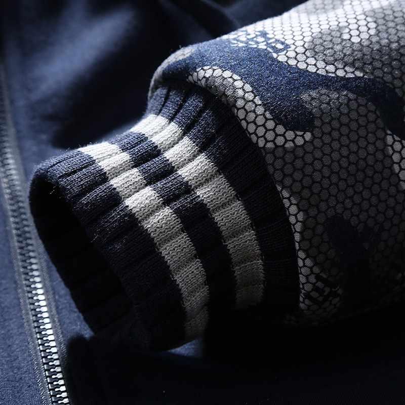 Мужской камуфляжный костюм для спорта, темно-синий повседневный спортивный костюм камуфляжной расцветки с утепленной толстовкой свитшот с капюшоном и штанами из флиса на зиму 2019