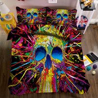 Halloween Skeleton 3D bedding sets California king decorate bedsheet Twin king Queen Pillowcase bed cover size flat sheet