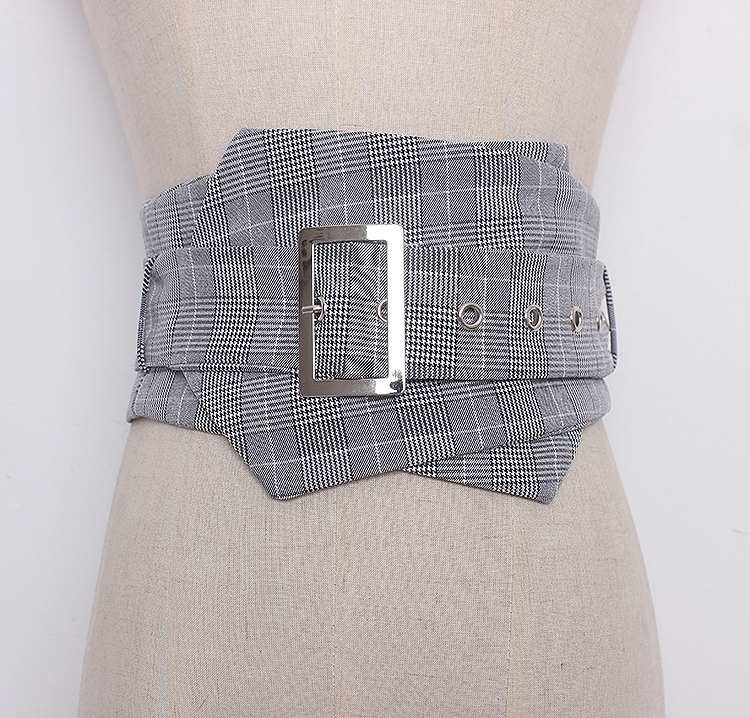 Women's Runway Fashion Plaid Checked Fabric Cummerbunds Female Dress Corsets Waistband Belts Decoration Wide Belt R1288