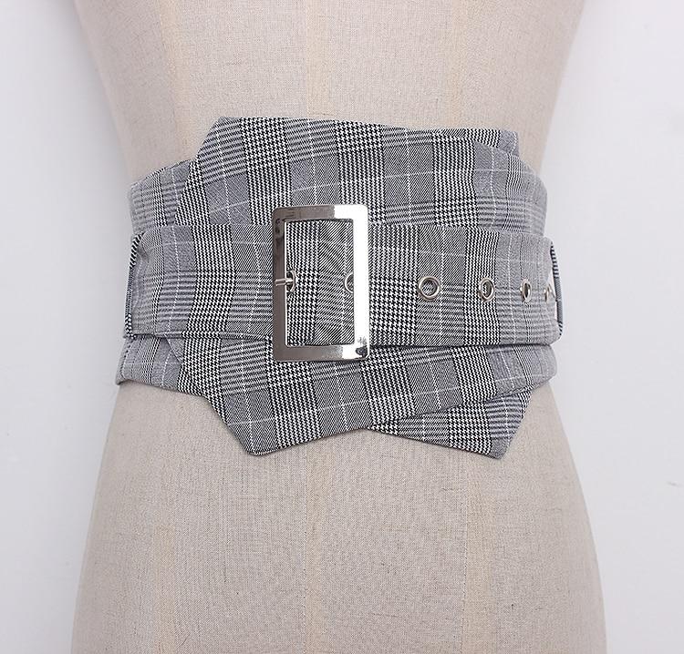 Women's Runway Fashion Plaid Checked Fabric Cummerbunds Female Dress Corsets Waistband Belts Decoration Wide Belt R1288