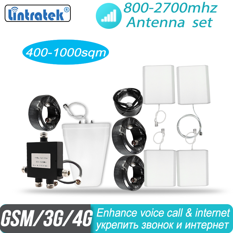 Big Coverage 2g 3g 4g Antenna Set With 4 Indoor Antenna For 800mhz - 2700mhz Mobile Phone Signal Booster Repeater Amplifier #30