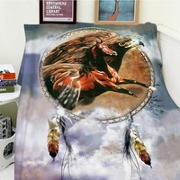 Blankets Comfort Soft Plush Easy Care Funny Cool Dreamcatcher Horse Eagle Animal Warm Throw Cobertor For Sofa Bed