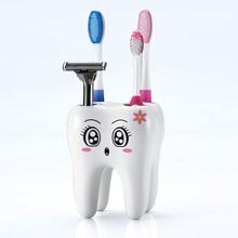 Держатель для зубных щеток с отверстиями, кронштейн для зубных щеток, контейнер в форме зуба, полка для ванной комнаты, Товары для ванной