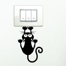 Black Cute Kitten Switch Sticker Bedroom Decorative Wall Stickers Vinyl Waterproof Stickers 2SS0022
