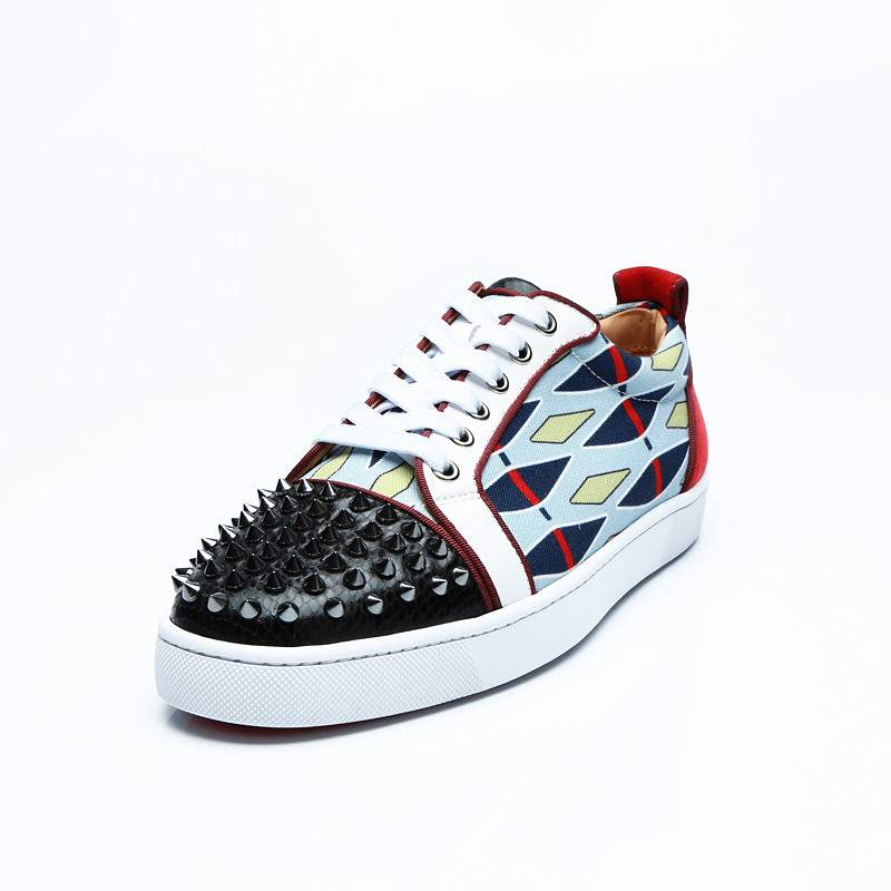 2018 Men Spike Shoes Low Top Geometric Shaped Lace-up Sneaker Round Toe Denim Cloth Sapatos Men Casual Shoes Plus Size EU39-47