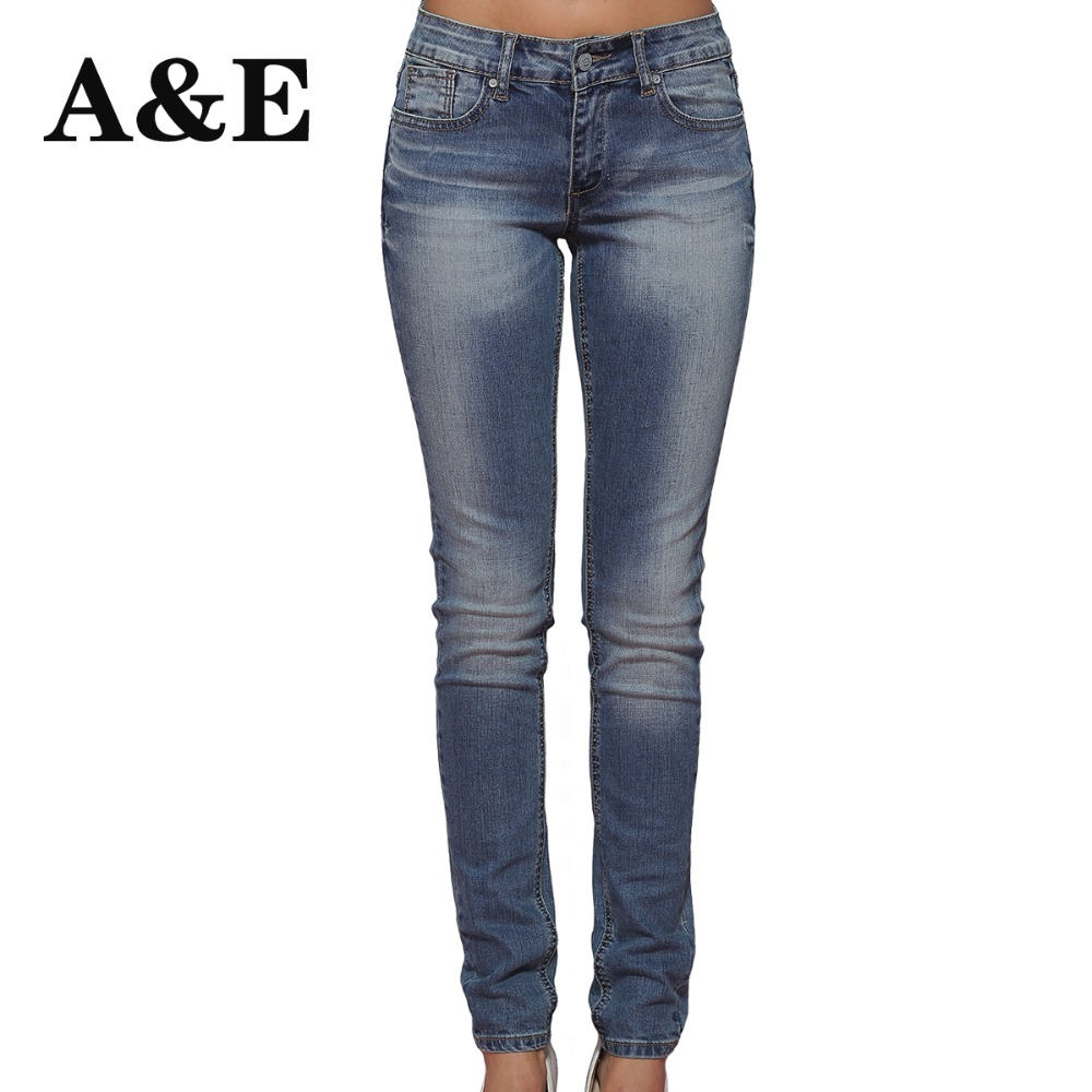 Alice & Elmer Mid Waist Skinny Women Jeans Kvinners Jeans For Girls Stretch Jeans Female Pants
