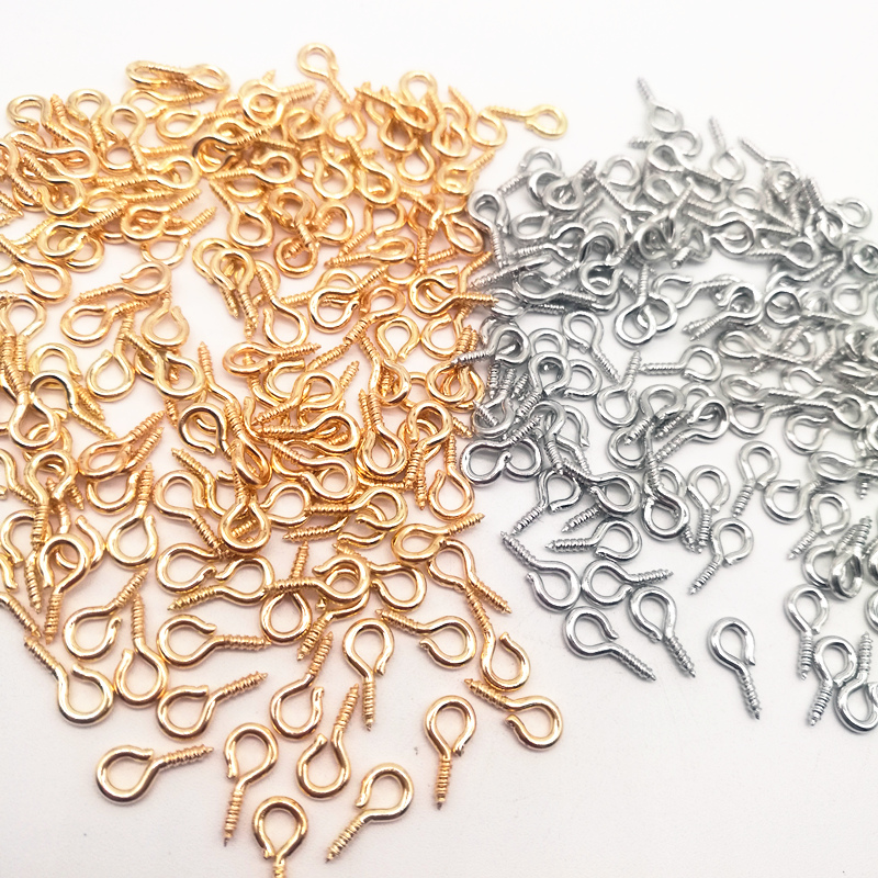 100 Pcs 8/10mm Eye Hook Screw Pins Gold/Silver Plated Clasp DIY Jewelry Finding