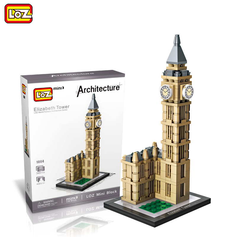 LOZ Mini Blocks 364pcs Famous Architecture Elizabeth Tower London Big Ben Clock Building Model Toy for Children City Blocks 1004 loz lincoln memorial mini block world famous architecture series building blocks classic toys model gift museum model mr froger