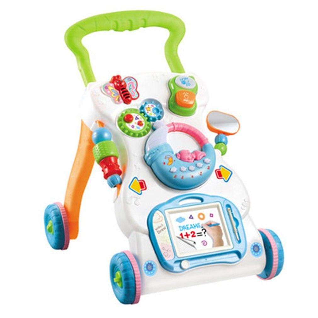 Unisexe marcheur pour bébés bambin chariot multifonction Anti-retournement réglable en hauteur marcheur marche enseignement voitures jouets