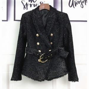 Image 2 - HIGH STREET Newest Baroque Fashion 2020 Designer Blazer Womens Double Breasted Lacing Belt Sparkle Wool Blazer