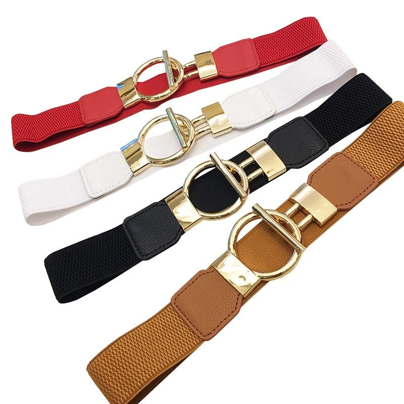 20PCS/LOT SINGYOU Belt For Women Simple Designer Gold Buckle Women Cummerbunds Female Wide Elastic Stretch Belt Decorate Dress
