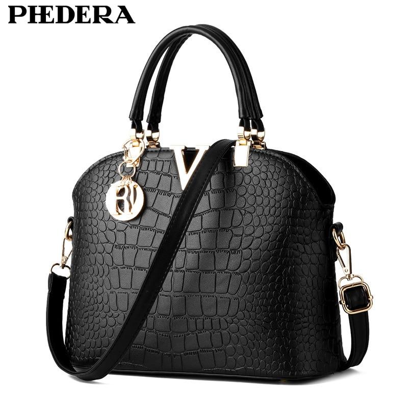 a08ef641bdd Fashion Alligator Pattern Women Leather Handbags Black Tote Bags Summer  Hand Bag Crocodile Female Pouch Ladies
