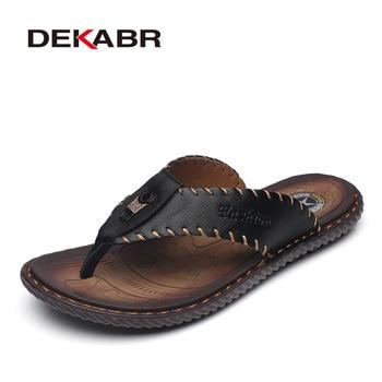 DEKABR nouveauté été hommes tongs haute qualité plage sandales antidérapant mâle pantoufles Zapatos Hombre chaussures décontractées hommes