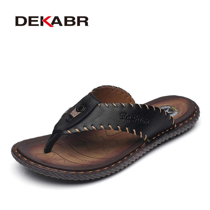 DEKABR New Arrival Summer Men Flip Flops High Quality Beach Sandals Non-slip Male Slippers Zapatos Hombre Casual Shoes Men