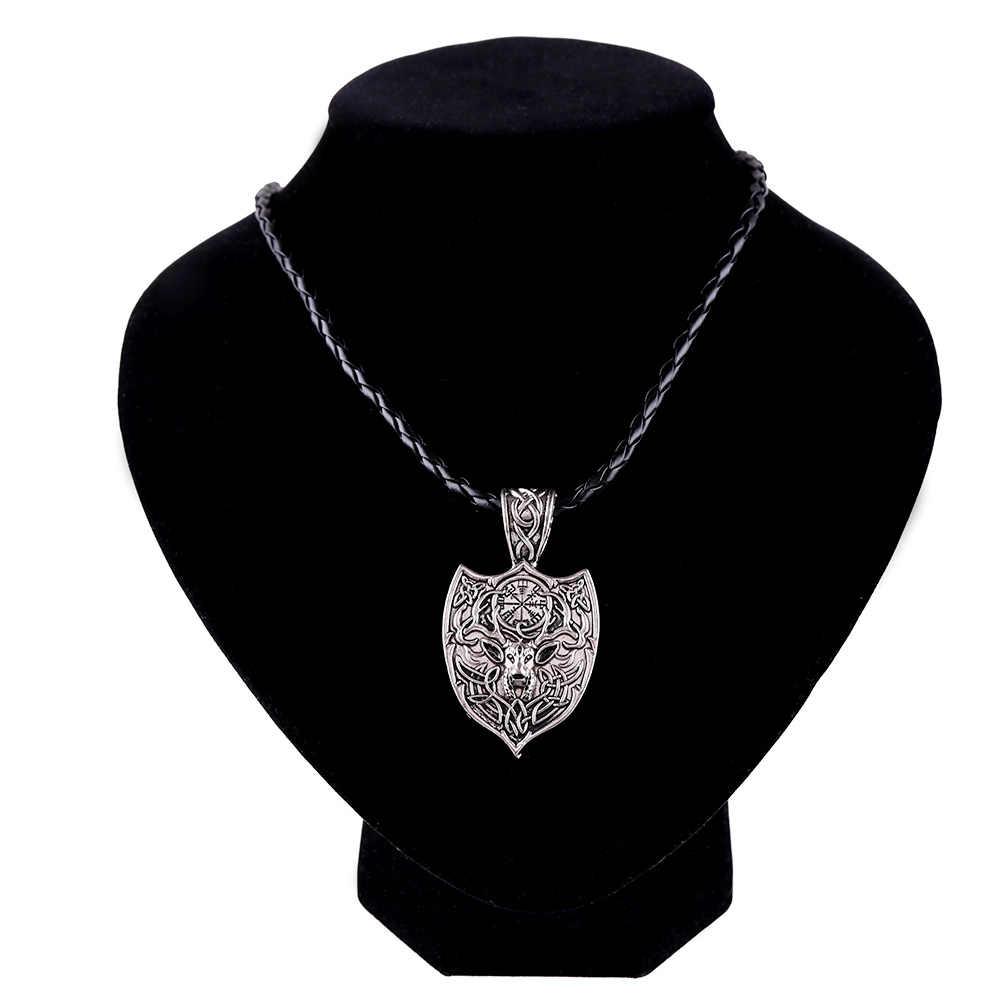 Мода в стиле норвежских викингов ожерелье золото/серебро Цвет миф волк Рунический амулет кулон ожерелье для мужчин удача прекрасные украшения оптовая продажа