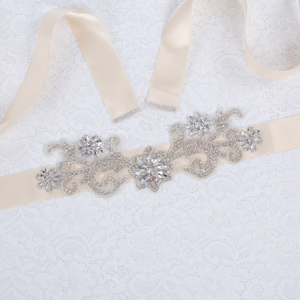 Inofinn WH21 Crystal Wedding Accessories Satin Wedding Dress Belt Bridal Ribbon Waistband Sash Belt for Evening Prom Dresses