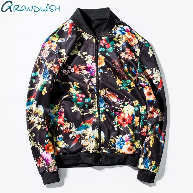 Grandwish Man Jacket Flower Print Spring And Autumn  New Mens Jacket Zipper Brand Streetwear Hip Pop Bomber Jacket Men,DA453