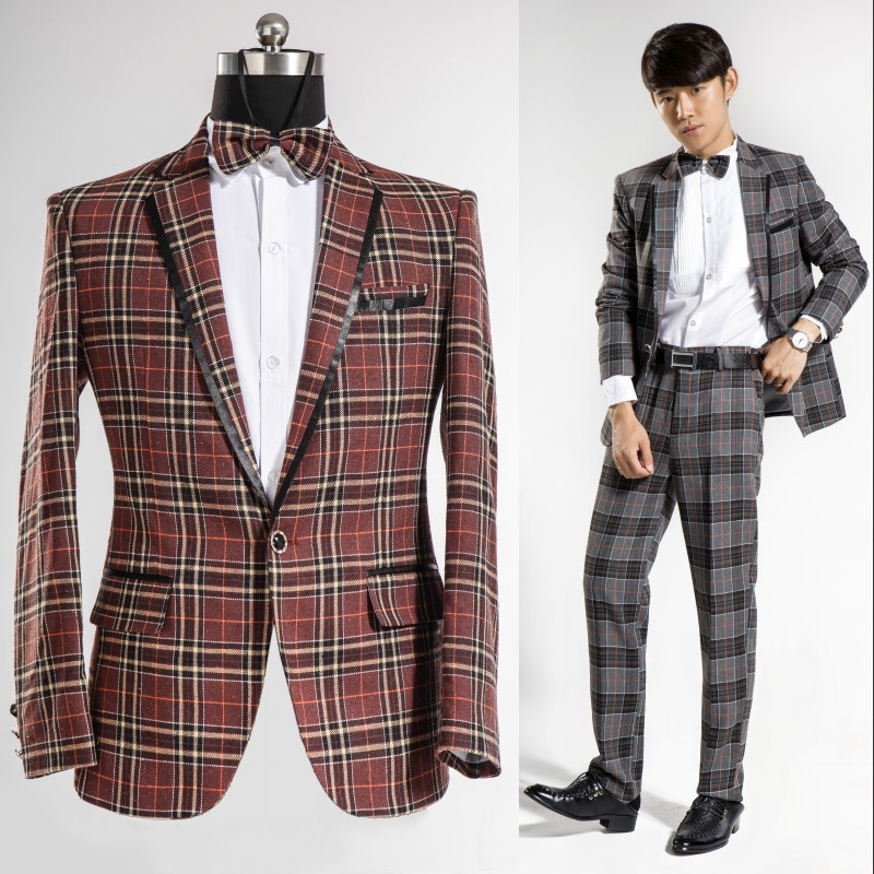 Aliexpress.com : Buy Men's plaid suits groom wedding dress mens