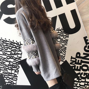 Image 3 - New Faux Fur Embellished Sleeve Sweater Long sleeve Jumpers with pearls Turtleneck Pull Casual Pullovers Jersey Mujer Invierno