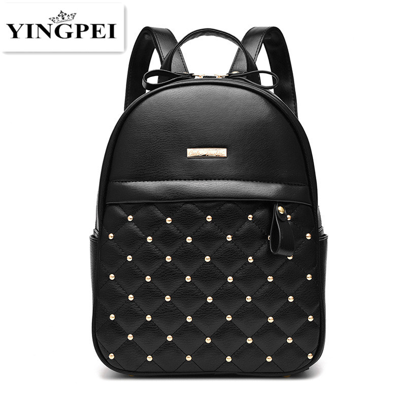 YINGPEI New Designer Women Backpack For Teens Girls Preppy Style School Bagl PU Leather Travel  Ladies High Quality Leather 2015 new fashion designer genuine leather brand ladies preppy style women backpack school backpack women shoulder wnb069