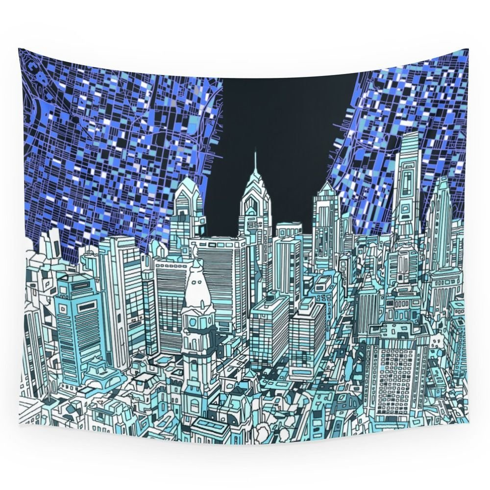 Philadelphia City Skyline Wall Tapestry Wedding Party Gift Bedspread Beach Towel Yoga Picnic Mat