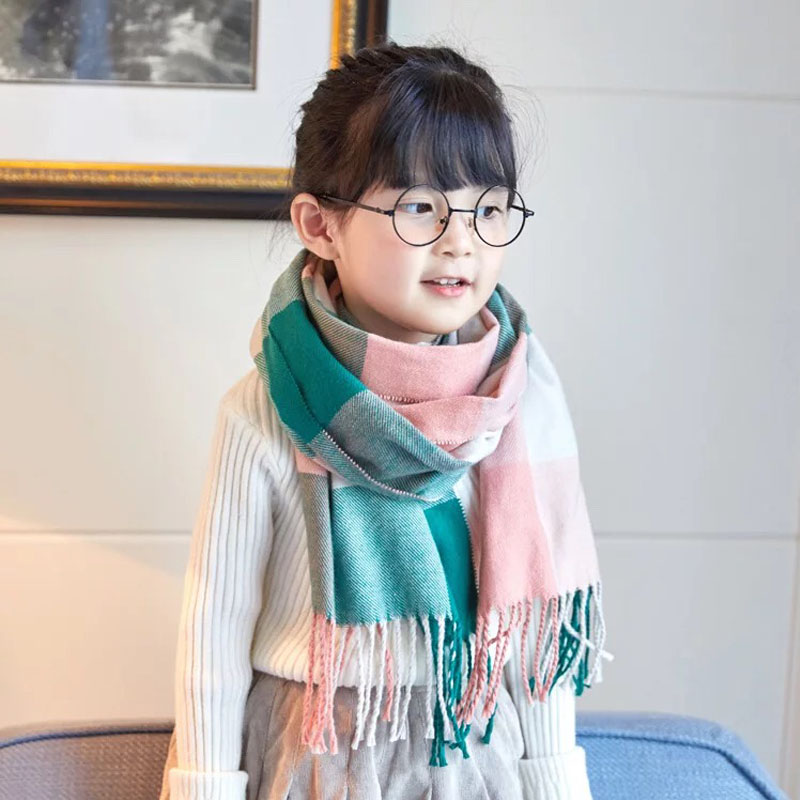 Autumn And Winter Children's Scarf British Plaid High-grade Warm Imitation Cashmere Soft Scarf Boys And Girls Fashion Scarf