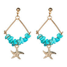 2019 Bohemia Stone Alloy Resin Starfish Shell Geometric Summer Earrings For Women Holiday beach Boho Jewelry